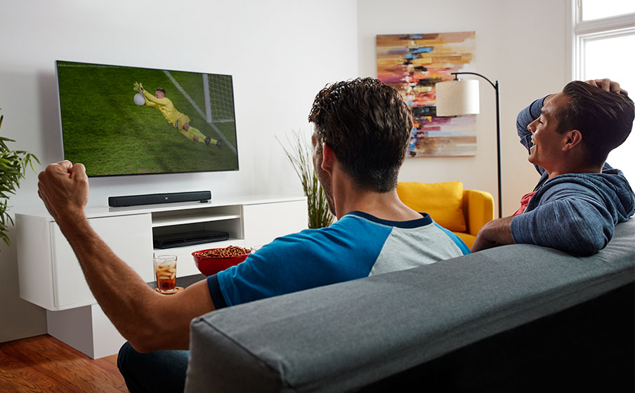 All-in-one Soundbar with built-in Dual Bass Port design