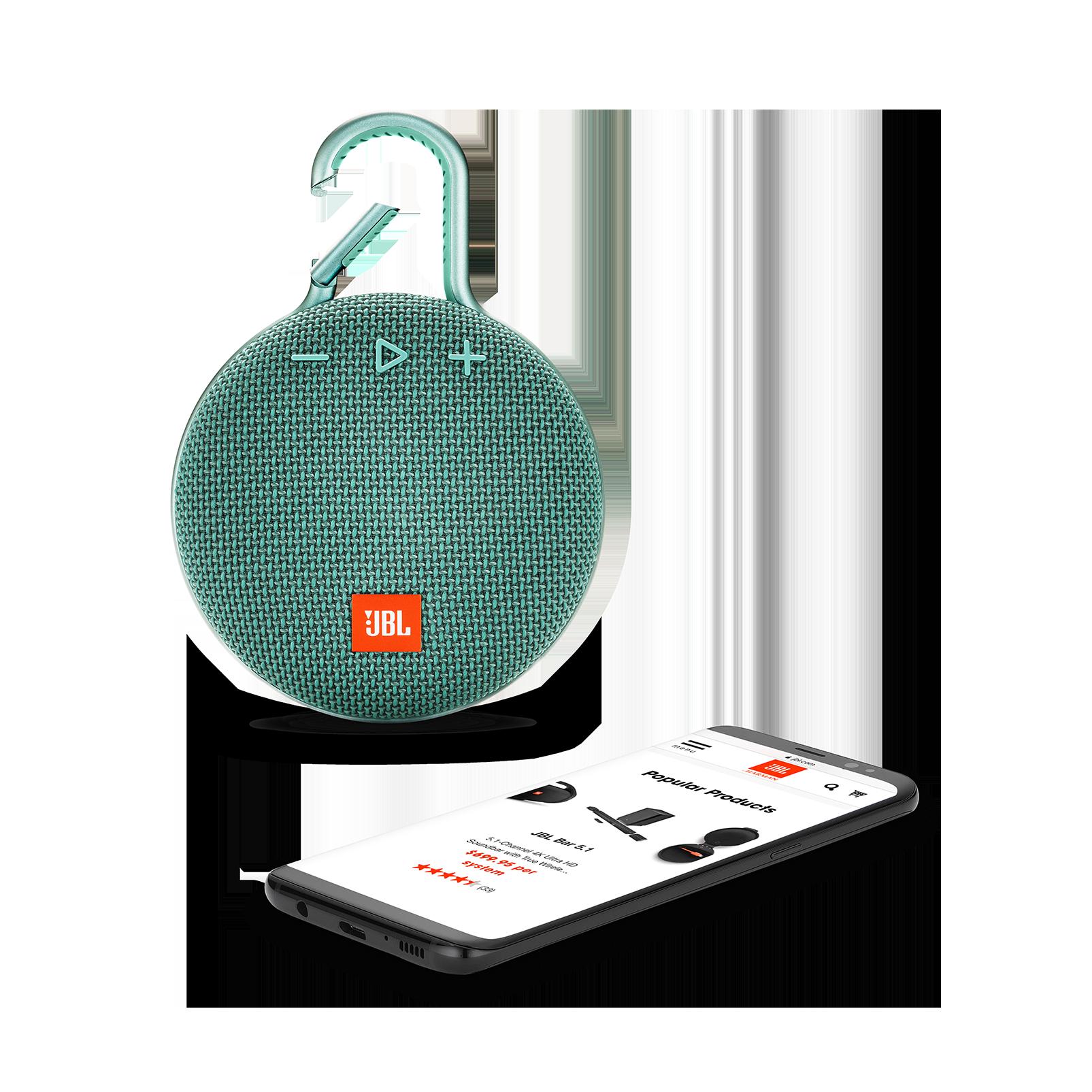 JBL CLIP 3 - River Teal - Portable Bluetooth® speaker - Detailshot 1